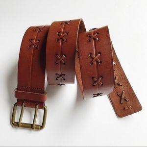 Eddie Bauer Leather Belt Double Prong Buckle Sz M